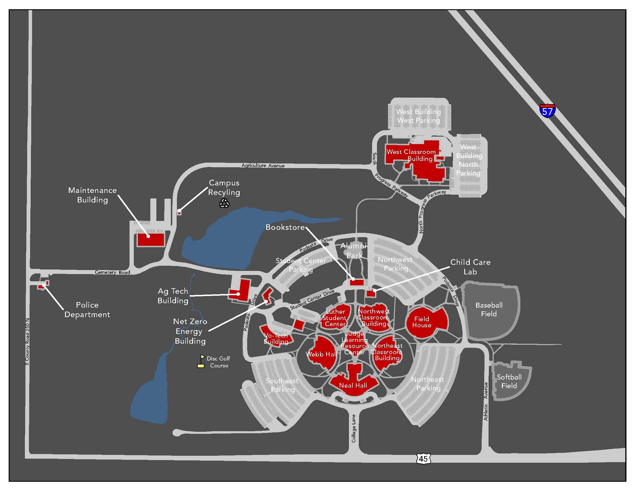 Lakeland Community College Campus Map.Lakeland Community College Map Whistler Trail Map